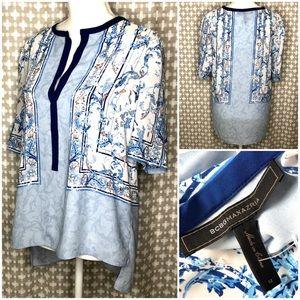 BCBG Blue White Floral 3/4 Sleeve V-Neck Blouse M